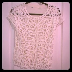 Nordstrom Ivory Crochet Tee with Knit Back